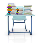 Schooldesk with books — Stock Photo