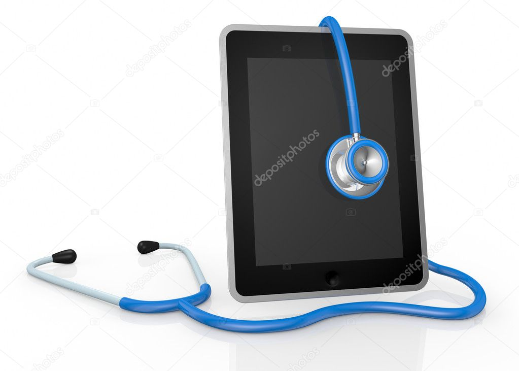 One tablet pc and a stethoscope; concept of computer repair or medical technologies (3d render) — Stock Photo #10673942