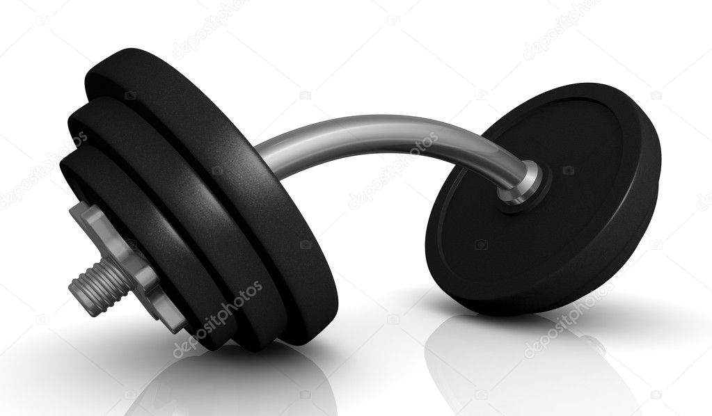 One dumbbell with bent handle (3d render) — Stock Photo #8425129