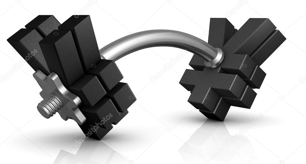 One dumbbell with the yen symbol instead of discs (3d render) — Stock Photo #8425253
