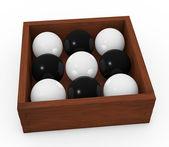 Black and white spheres — Stock Photo