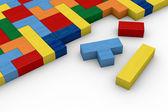 Quebra-cabeça do bloco de madeira — Foto Stock