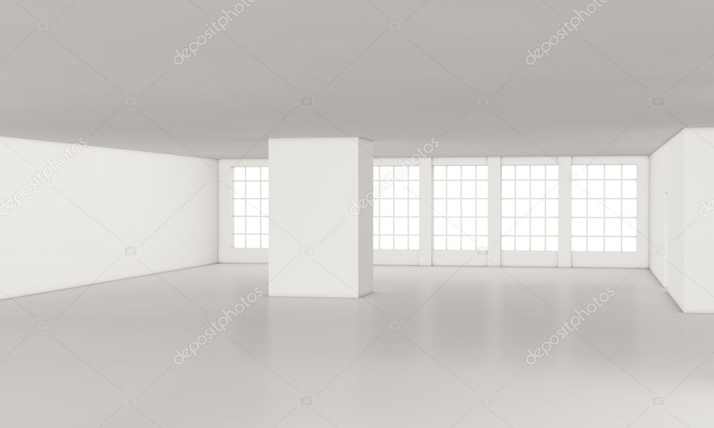 One loft with big windows, all white (3d render) — Stock Photo #9335777