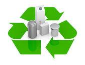 Geri dönüşüm sembolü ile çeşitli paketler — Stok fotoğraf