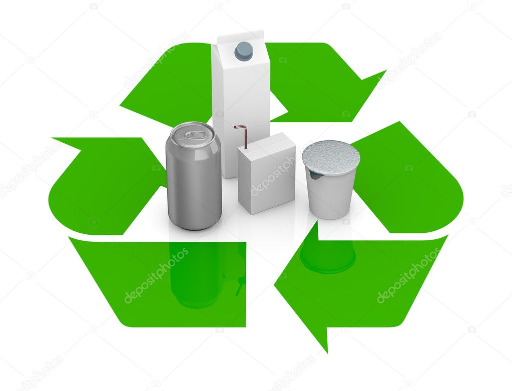 Top view of a recycling symbol with several packages made with recycling materials at the center (3d render) — Stock Photo #9820146