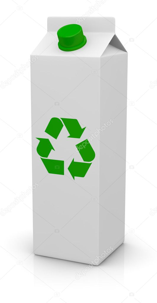 One tetrapak package with a green cap and the recycling symbol printed on front (3d render) — 图库照片 #9820171