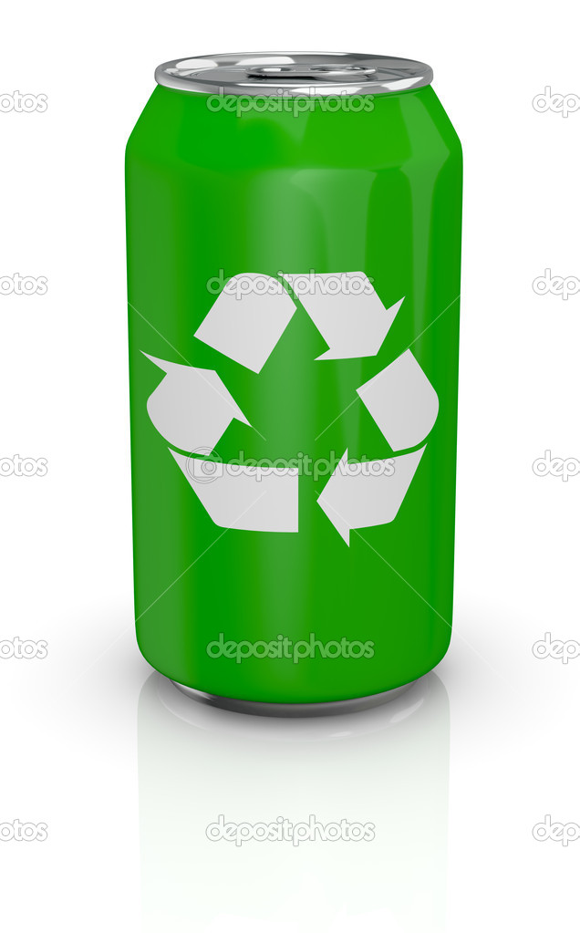 Aluminum can with recycling symbol — Stock Photo © lucadp #9820172