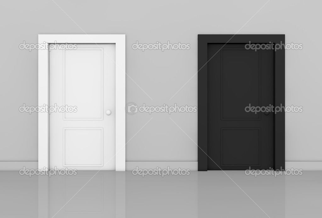 View of a room with two doors of different color (3d render) — Stock Photo #9820745
