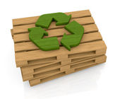 Pallet and recycle symbol — Stock Photo