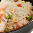 Closeup Bowl of Shrimp Stir Fry Rice — Stock Photo