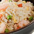 Closeup Bowl of Shrimp Stir Fry Rice — Stock Photo
