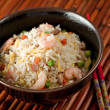 Bowl of Shrimp Stir Fry Rice, Traditional Chinese Food — Stock Photo