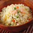 Bowl of Shrimp Stir Fry Rice, Traditional Chinese Food - Stok fotoğraf