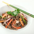 Cold Soba Buckwheat Noodle Salad — Stock Photo