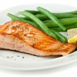 Closeup of Grilled Salmon Fellet with Green Beans — Stock Photo #8136863