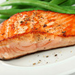 Closeup of Grilled Salmon Fellet with Green Beans — Stock Photo #8136867