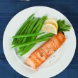 Grilled Salmon Fillet with Green Beans Plate — Stock Photo