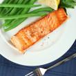 Straight View of Grilled Salmon Fellet with Green Beans — Stock Photo #8136876