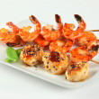 Sesame ginger scallop with hoisin sauce and Shrimp Skewers — Stock Photo
