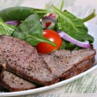Beef sirloin and spinach - Stock Photo