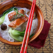 Peking Duck with Rice Noodles Soup Bowl — Stock Photo