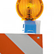 Barricade and Warning Light Closeup — Stock Photo