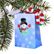 Christmas Gift bag and pine tree — Stock Photo