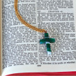 Cross on Open Bible — Stock Photo