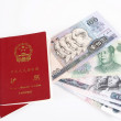 Chinese Passport and Currency - Stock Photo