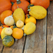 Pumpkins on picnic table — Stock Photo
