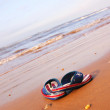 Pair of sandles on beach - Stock Photo