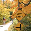 Stock Photo: Stop Sign by Bike Trail