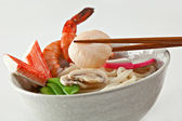 Seafood Udon Noodle Soup — Stock Photo