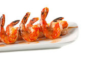 Shrimp skewers with sweet garlic chili sauce on white background — Stock Photo