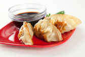Closeuo of Fried Pot stickers, Dumplings, Traditional Asian Food — Stock Photo