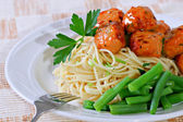 Barbecue Meatball over Spaghetti — Stock Photo