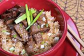 Beef stir-fry rice — Stock Photo