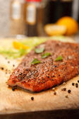 Closeup of Smoked Salmon Steak Dish — Stock Photo