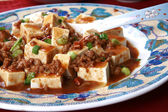 Mapo Tofu - Popular Chinese Spicy Dish from Sichuan with Minced — Stock Photo