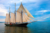 Old Style Sail Boat near Harbor — Stock Photo