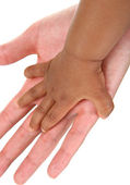 Baby and Mother Hands Together — Stock Photo