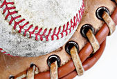 Close-up of baseball seam line — Stock Photo