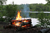 Campfire By the Lake — Stock Photo