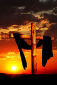Wooden Cross on Sunset — Stock Photo