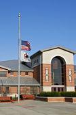 American Flag at half-mast in Memory Of Slain Virginia Tech Stud — Stock Photo