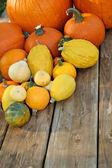 Pumpkins on picnic table — Stock Photo