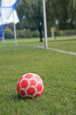 Soccer Ball on the Ground — Stock Photo