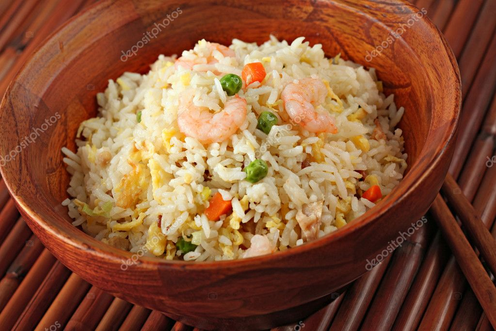 Shrimp Stir Fried Rice in a Bamboo Bowl  Stock Photo #8136767