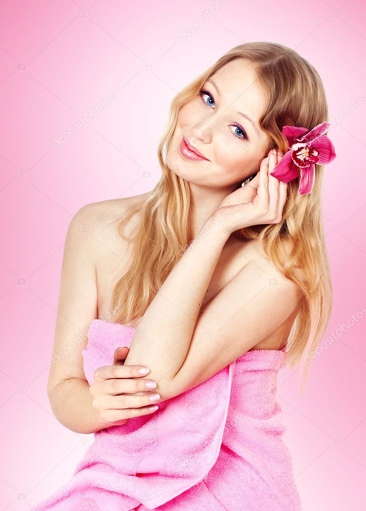 Series. Picture of happy young blonde woman with colorful flowers — Stock Photo #10296368