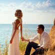 Stock Photo: Young pair wedding. Walk at mountains near sea
